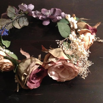 Boho  Flower Crown,  Bohemian Flower Crown, Rose Flower Halo, Vintage Inspired Flower Crown