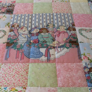Pretty Victorian Dolls, Hand Quilted Homemade Patchwork Large Lap Quilt Throw Handemade Quilt 57 x 57 inches Free Shipping Canada, US
