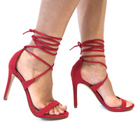 Legacy Tie Up Heels In Red