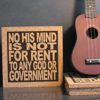 RUSH - TOM SAWYER - No His Mind Is Not For Rent To Any God Or Government - Cork Lyric Wall Art and Hot Pad Trivet - Dorm Room Cubicle Decor
