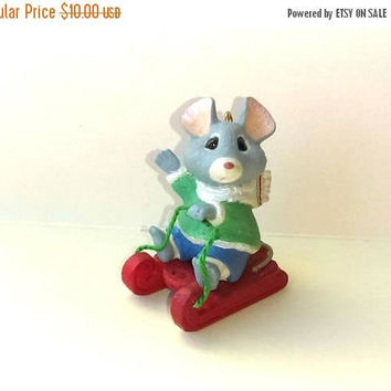 Christmas Sale Vintage Hallmark Christmas Ornament - Mouse Ornament - Mouse Figurine - Christmas Gift Idea - Christmas Present
