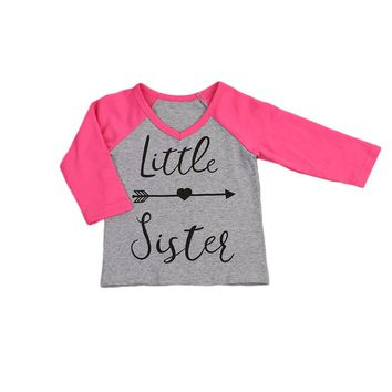 Little Sister Toddler Baby Kids Girls Big Sister T-shirt Tops Family Matching Outfits