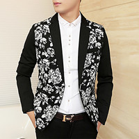 Floral Print Black Mens Slim Fit Blazer