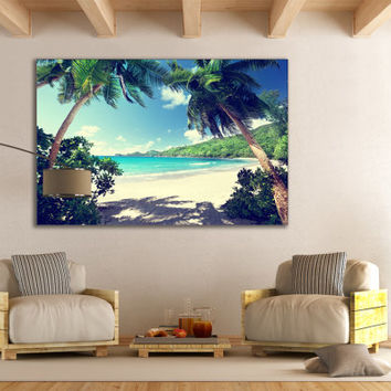 Tropical Nature Seascape Contemp Bedroom Wall Art / Office , Home , Kids Room , Living Room Wall Decor / Ocean Palm Tree Beach Decor Gifts