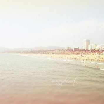 Santa Monica Pier Beach Fine Art Print- Hazy Blue Skies Los Angeles California Sand Ocean Shabby Decor