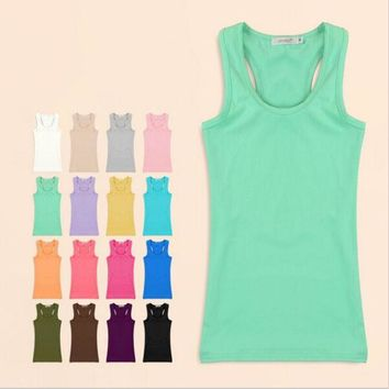 CREYHY3 Womens Tank Top 2015 Summer Women Sexy Cotton Solid Tanks Camisole Fitness Women Vest Tops T Shirt  Basic Cami Blusas
