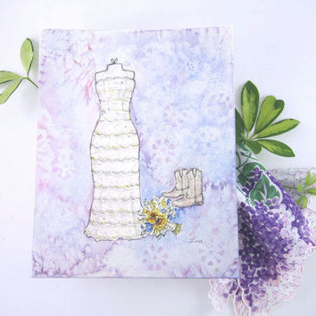 CUSTOM Wedding Dress Sketch - Personalized Wedding Gift - Custom Bridal Gift - Original Watercolor Painting