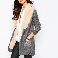 River Island Chunky Cardigan With Faux Fur Collar at asos.com