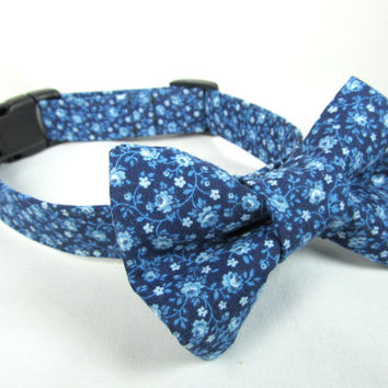 Designer Dog Collar and Bow tie - Grandma's Drapes  - Spring dog collar, blue dog collar, cute dog collar