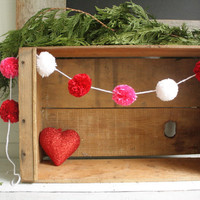 Valentines Day Pom Pom Garland, Red, Pink, White, bunting, cozy, home decor, reading nook, play room, wall hanging, whimsical, bright