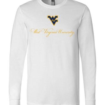 Official NCAA West Virginia University Mountaineers Hail WVU Cursive Long Sleeve T-Shirt - 61U-WV