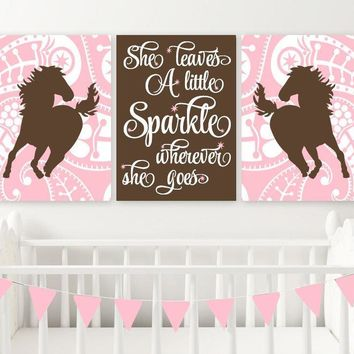 GIRL HORSE Wall Art, COWGIRL Bedroom Decor, Baby Girl Nursery Decor Canvas or Prints She Leaves A Little Sparkle, Horse Paisley, Set of 3