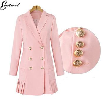 Emitiral Women Blazers And Jackets 2017 OL Double Breasted Long Dames Blazer Ladies Blazer Long Sleeves Casual Outwear Plus Size