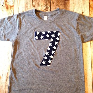 Navy stars birthday shirt Number Birthday Shirt Boys 1st Grey TShirt white patriotic stars Boys First 1 2 3 4 5 6 7 8 9 year old military