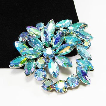 UnSigned Weiss Flower Brooch Teal Blue Green Aurora Borealis Marquis Flower Pin Mid Century Vintage 1950s Collectible Jewelry Flowers Pin
