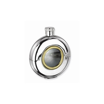 Glass Window Stainless Steel and Gold-tone 5oz Round Flask - Etching Gift Item