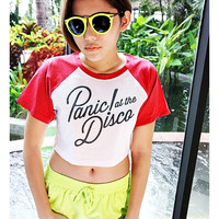 Panic At The Disco Shirt Leopard, Pink, Red, Black And White Baseball T-Shirt Cropped Top Hipster Sexy Girl