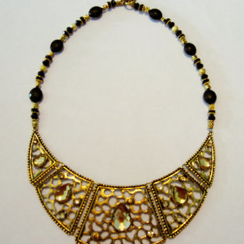 Black and gold cleopatra bib statement necklace, Gold egyptian statement necklace, Gold bib necklace, Cleopatra egyptian necklace, Choker