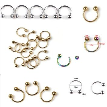 2PCS 316L Stainless Steel Horseshoe Bar Lip Nose Hoop Septum Ear Ring Belly Button 1.2G 8/10mm Body Piercing Jewelry