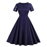 Sisjuly Vintage 1950s Dark Blue O Neck Dresses 2017 Summer Female Sequins Short Sleeve Knee Length Party Dress Retro Dresses