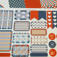 July Erin Condren Sticker Squares - July Stickers | Nautical | Weekly Squares Stickers Sheets | Filofax | Planner | Journal | 4th of July