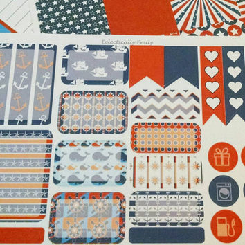 July Erin Condren Sticker Squares - July Stickers   Nautical   Weekly Squares Stickers Sheets   Filofax   Planner   Journal   4th of July