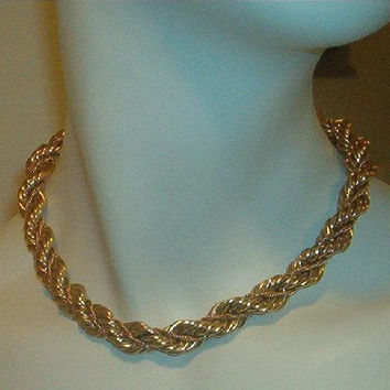 HARRY S. BICK 12K Gold Filled Chunky Thick Choker Necklace Earrings hsb
