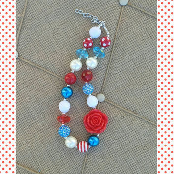 Red Teal White Necklace - Birthday Necklace - Photo Prop - Dr Seuss Birthday - Flower Girl - Spring - Costume - Ready to Ship - Patriotic