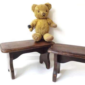 Vintage Rustic Wooden Stool, Child Seat Nursery Twins Gift, Primitive Décor, Cabin, Bathroom, Foot Rest, Teddy Bear Doll Display, Milking