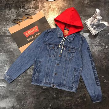 Supreme Women Men Fashion Edgy Loose Zip Buttons Hooded Denim Cardigan Jacket Coat