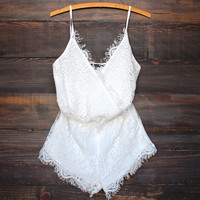 bat your lashes boho romper ivory