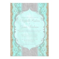 Teal & Silver Vintage Burlap Wedding Invitations