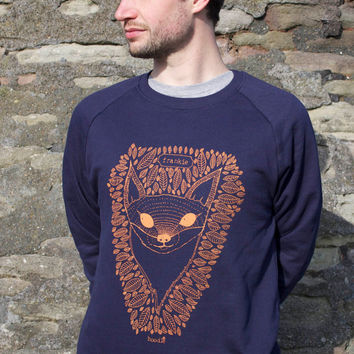 100% Organic Mens Sweater featuring 'Frankie the Fox'. Hand screen printed with eco friendly inks.
