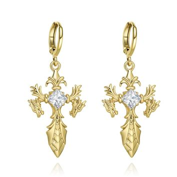 Magical Dragon Sword Style Viking Cross Protection Powers Amulets Gold-Tone Crystals Earrings