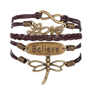 Love Dragonfly Multilayer Knit Leather Rope Chain Charm Bracelet