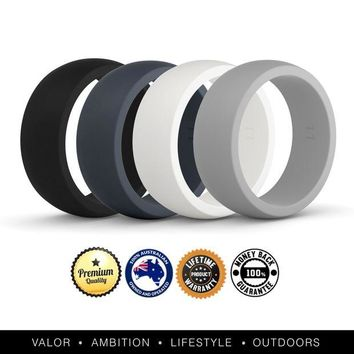 VONEXO9 VALO Active Mens 4 Pack Silicone Wedding Rings   Safe Work Sport Gym Bands