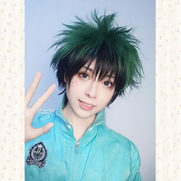 My Boku no Hero Academia Izuku Midoriya Short Green Black Mix Cosplay Costume Wig