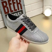 GUCCI Fashion Woman Casual Shiny Rivet Blue Red Stripe Flats Sport Shoes Sneakers Silvery I-ALS-XZ
