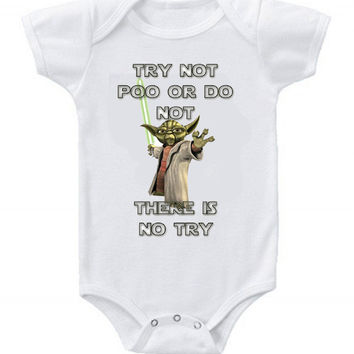 NEW Cute Funny Star Wars Yoda Baby Bodysuits Onesuit Poo or Not One Piece
