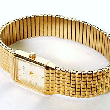 Vintage Ladies Watch Citizen Quartz Stainless Steel Gold Stretch Band Square Face Ship Free US