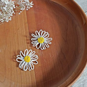 Vintage 1960s Beaded + Daisy Earrings