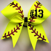 """Softball bow with your number. approximately 6""""by6"""". made with 2.25 grosgrain ribbon and glitter"""