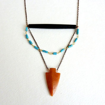 Turquoise & Carnelian Arrowhead Necklace. Stone And Bone. Bohemian Statement Jewelry