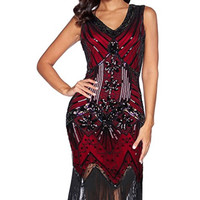Gatsby Ox Blood Sequins Flapper Dress