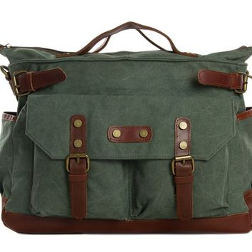 Waxed Canvas with Leather Travel Messenger Bag -  Olive Green
