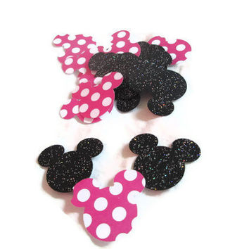 100 Piece Black Glitter and Minnie Confetti  by MoosesCreations