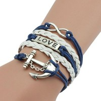 jeansian Women's Anchors Love Multilayer Wax Rope Bracelet WCE034