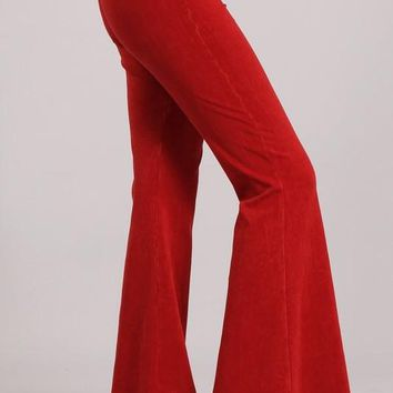 Chatoyant Mineral Wash Bell Bottoms Red