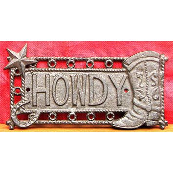 "Star & Boot Cast Iron ""HOWDY"" Sign"