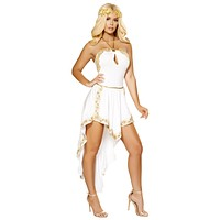 Sexy Stand By Me Golden Goddess White Dress